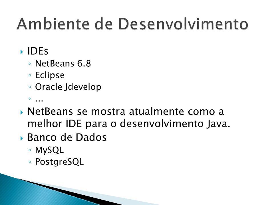  IDEs ◦ NetBeans 6.8 ◦ Eclipse ◦ Oracle Jdevelop ◦...  NetBeans se mostra atualmente como a melhor IDE para o desenvolvimento Java.  Banco de Dados