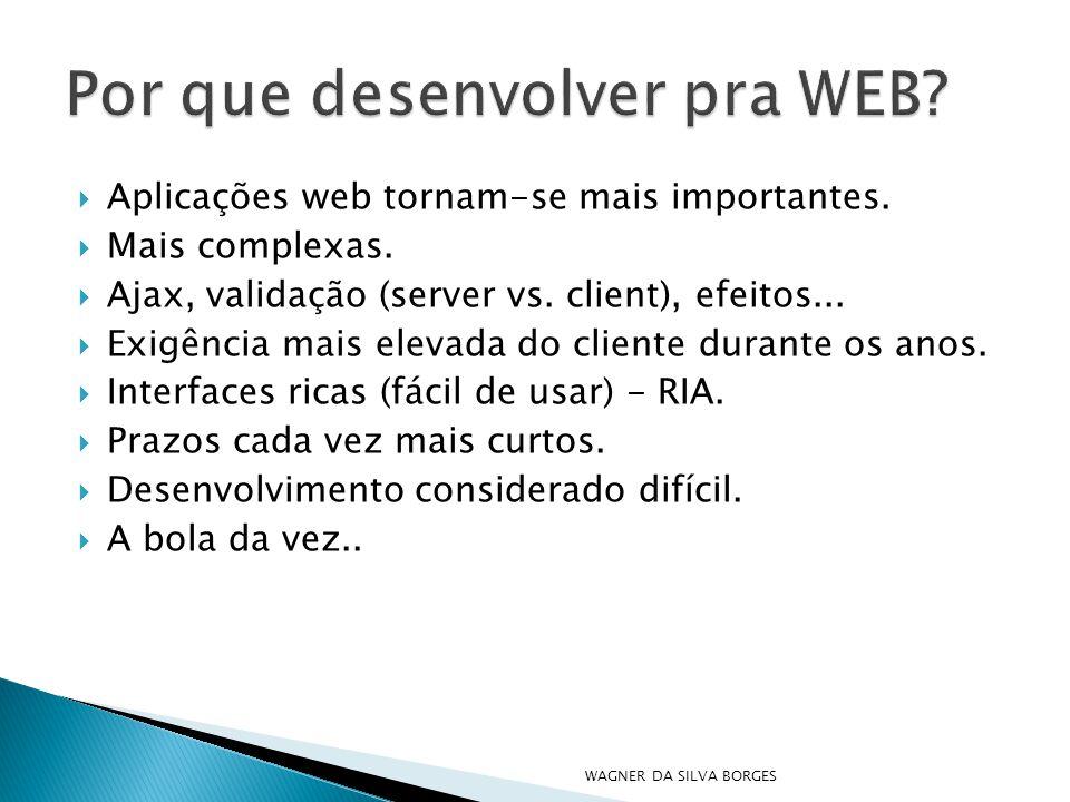  Aplicações web tornam-se mais importantes.  Mais complexas.  Ajax, validação (server vs. client), efeitos...  Exigência mais elevada do cliente d