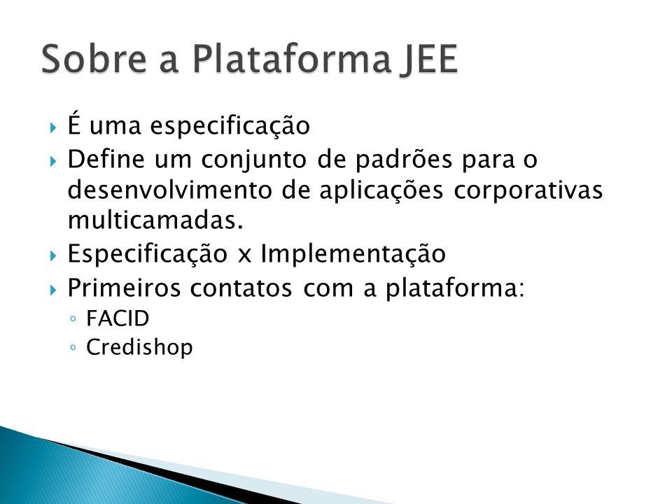  Tecnologias que fazem parte da arquitetura: Java Server Pages (JSP); Servlets; Enterprise Java Beans (EJB); Java Server Faces Java Database Connectivity Java Persistente API (JPA) Context Dependency Injection (CDI) Java Name Directory Interface (JNDI) Remote Method Invocation (RMI) JavaMail API; Java Message API (JMS);