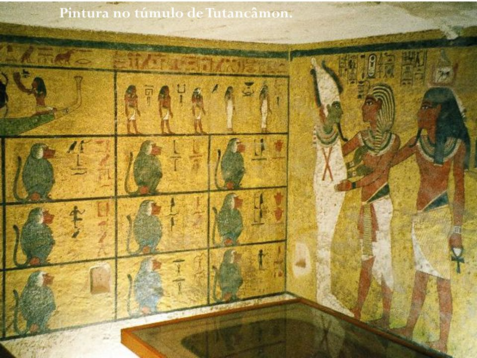 Pintura no túmulo de Tutancâmon.