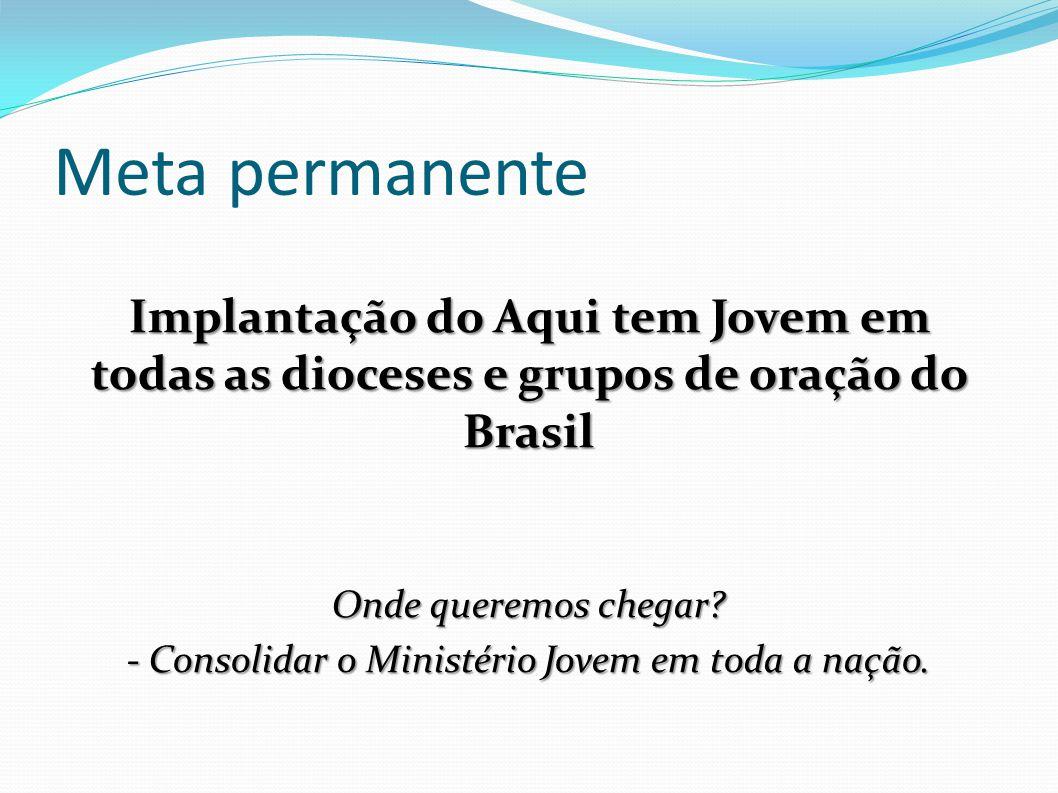 Meta permanente Implantação do Aqui tem Jovem em todas as dioceses e grupos de oração do Brasil Onde queremos chegar? - Consolidar o Ministério Jovem
