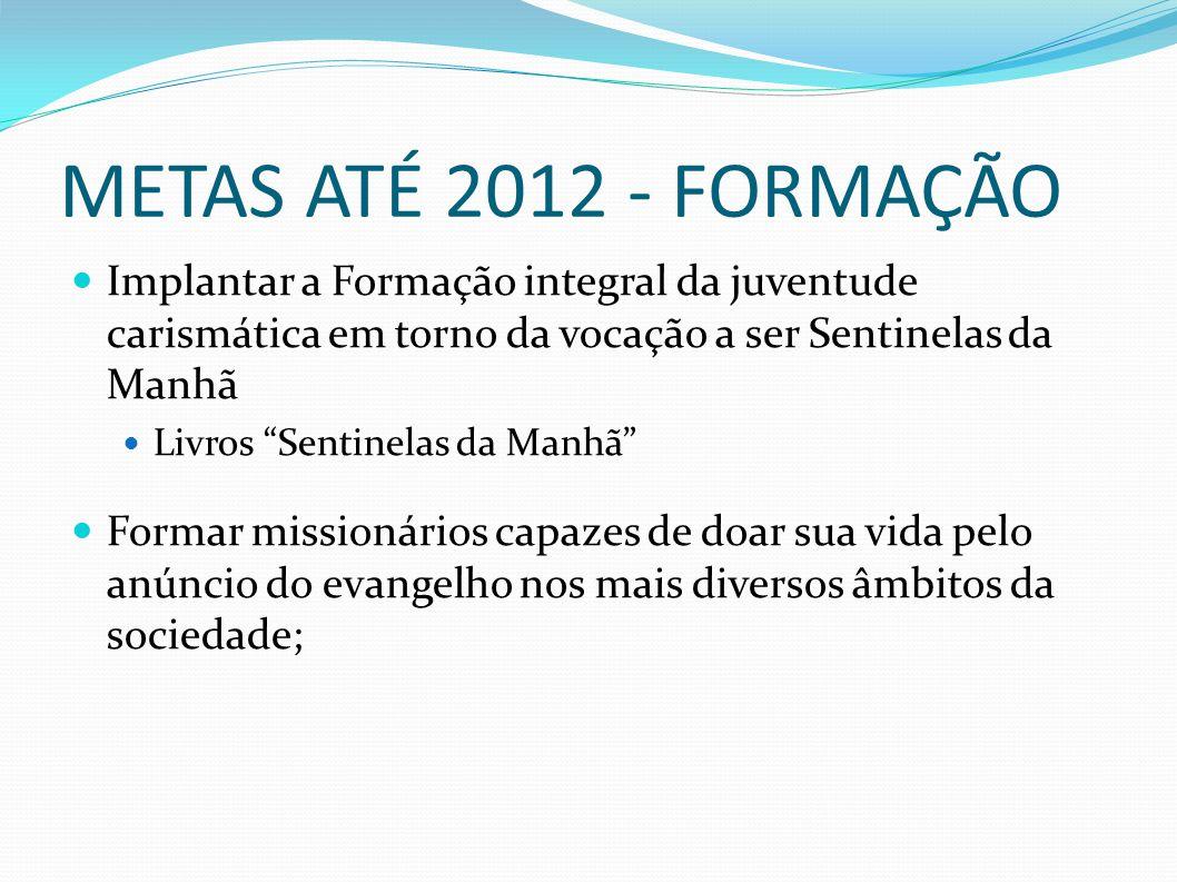 """METAS ATÉ 2012 - FORMAÇÃO Implantar a Formação integral da juventude carismática em torno da vocação a ser Sentinelas da Manhã Livros """"Sentinelas da M"""