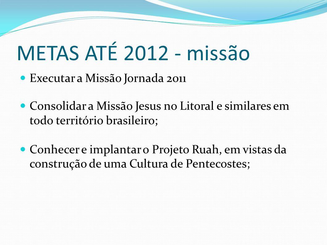 METAS ATÉ 2012 - missão Executar a Missão Jornada 2011 Consolidar a Missão Jesus no Litoral e similares em todo território brasileiro; Conhecer e impl