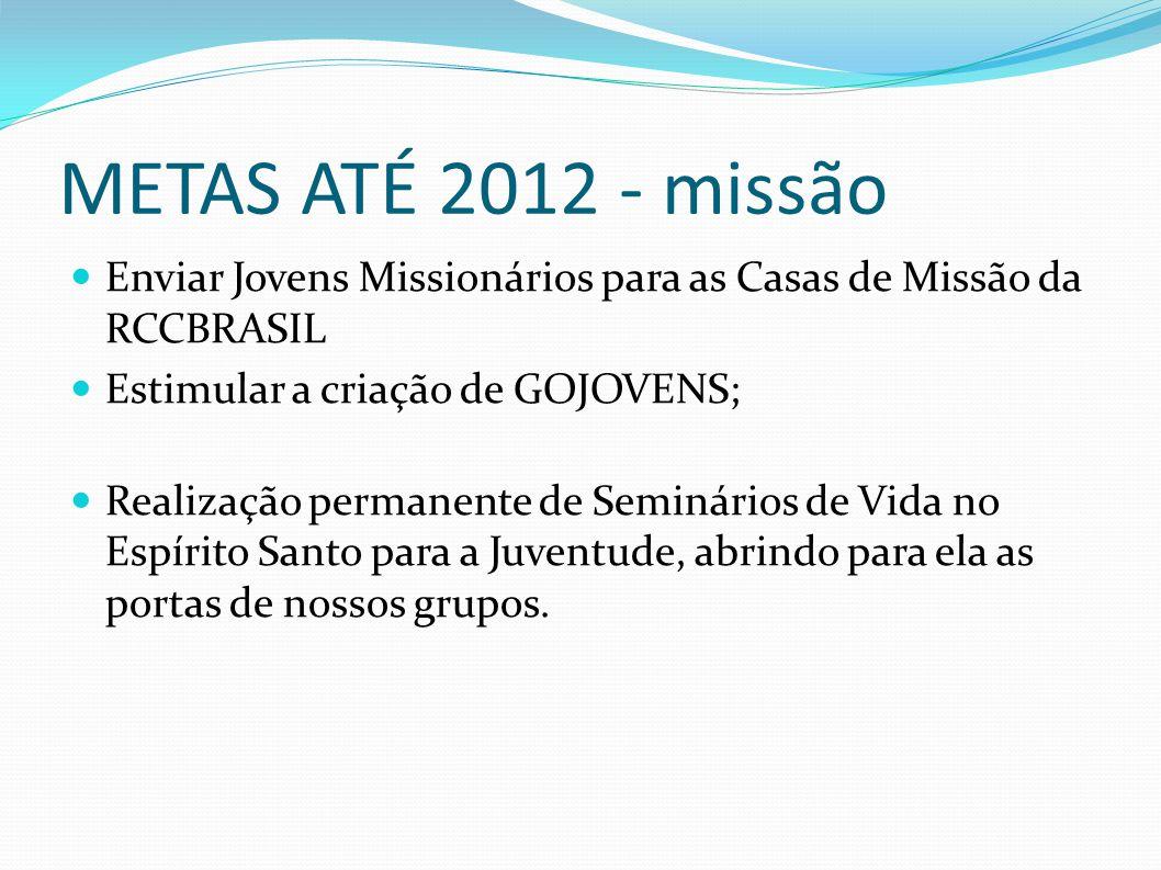 METAS ATÉ 2012 - missão Enviar Jovens Missionários para as Casas de Missão da RCCBRASIL Estimular a criação de GOJOVENS; Realização permanente de Semi