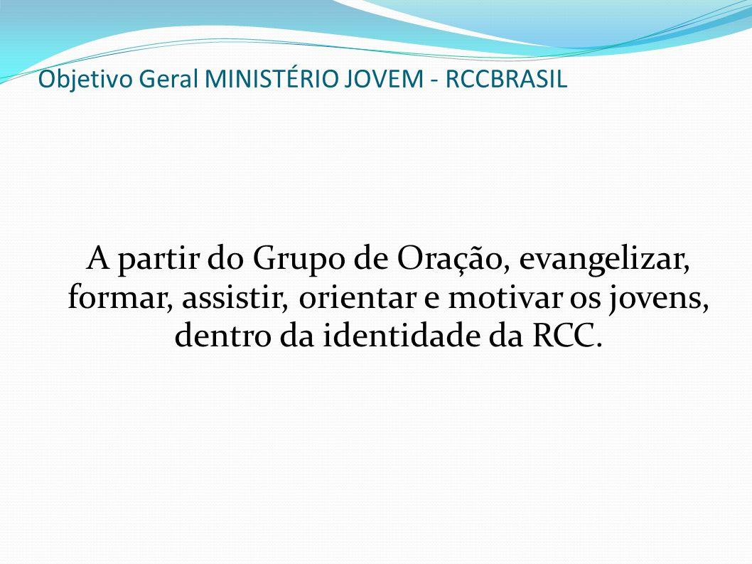 Objetivo Geral MINISTÉRIO JOVEM - RCCBRASIL A partir do Grupo de Oração, evangelizar, formar, assistir, orientar e motivar os jovens, dentro da identi