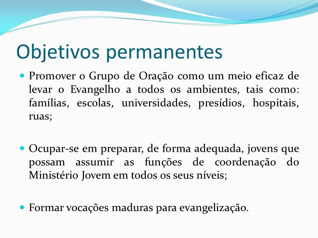 Objetivos permanentes Promover o Grupo de Oração como um meio eficaz de levar o Evangelho a todos os ambientes, tais como: famílias, escolas, universi