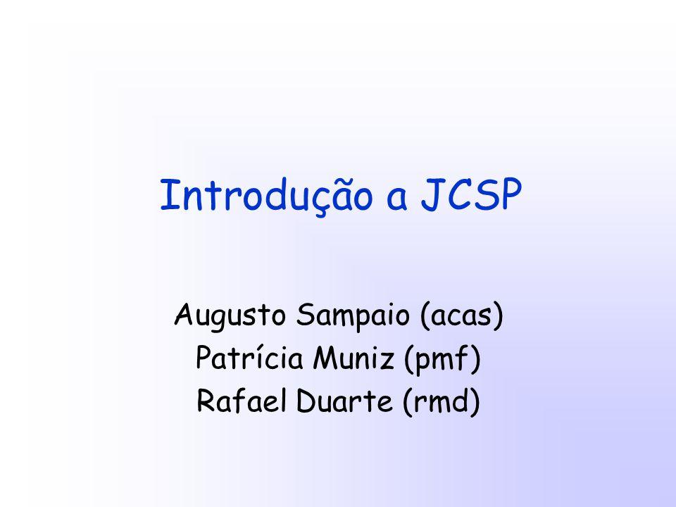 Introdução a JCSP Augusto Sampaio (acas) Patrícia Muniz (pmf) Rafael Duarte (rmd)