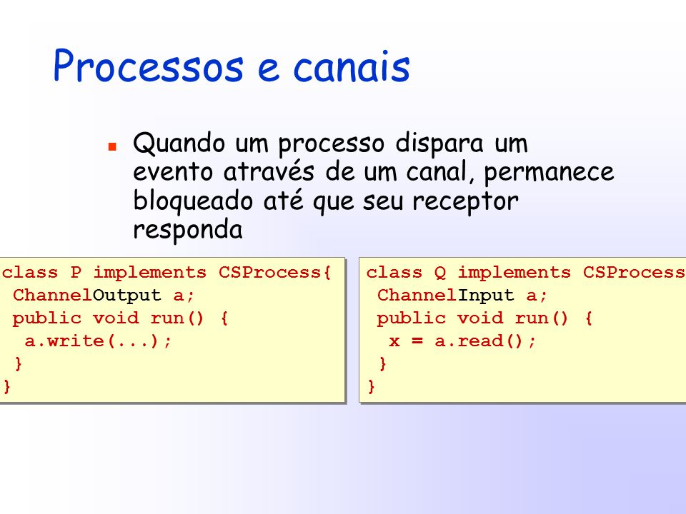 Processos e canais Quando um processo dispara um evento através de um canal, permanece bloqueado até que seu receptor responda class P implements CSProcess{ ChannelOutput a; public void run() { a.write(...); } class P implements CSProcess{ ChannelOutput a; public void run() { a.write(...); } class Q implements CSProcess{ ChannelInput a; public void run() { x = a.read(); } class Q implements CSProcess{ ChannelInput a; public void run() { x = a.read(); }