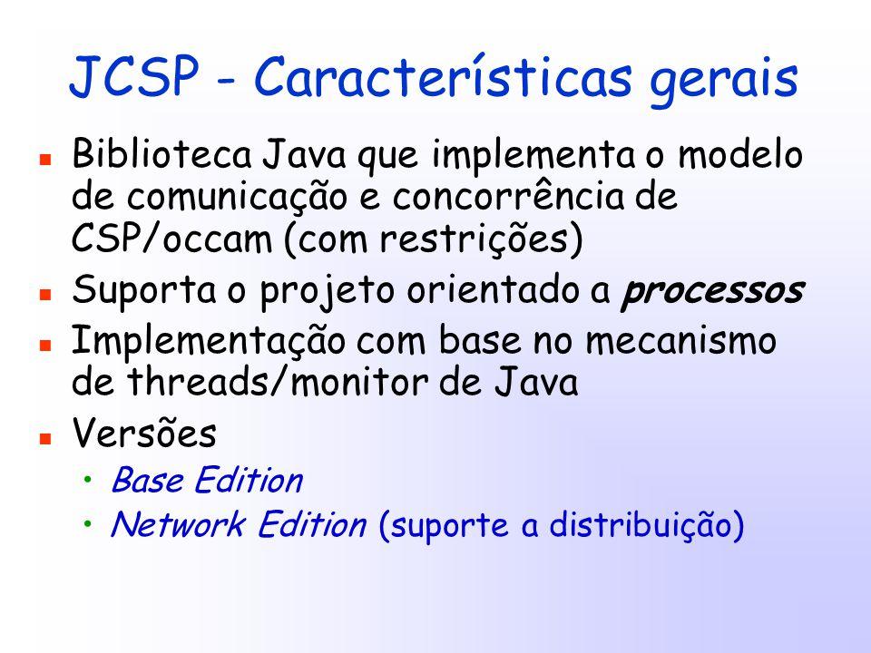 JCSP - Características gerais Biblioteca Java que implementa o modelo de comunicação e concorrência de CSP/occam (com restrições) Suporta o projeto orientado a processos Implementação com base no mecanismo de threads/monitor de Java Versões Base Edition Network Edition (suporte a distribuição)