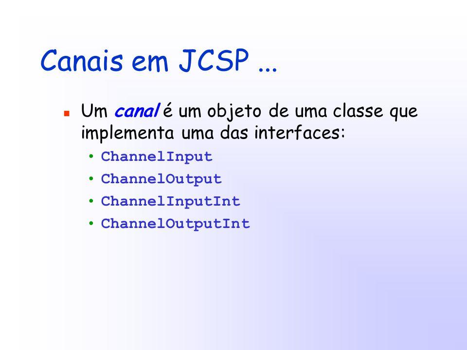 Canais em JCSP...