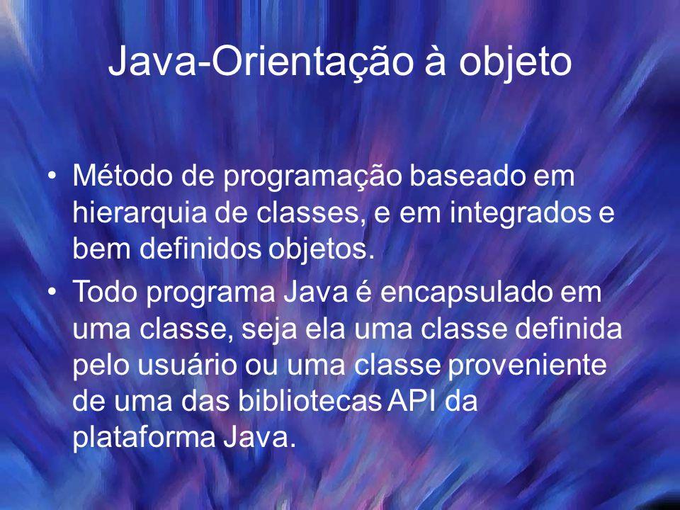 Java-Orientação à objeto Método de programação baseado em hierarquia de classes, e em integrados e bem definidos objetos. Todo programa Java é encapsu