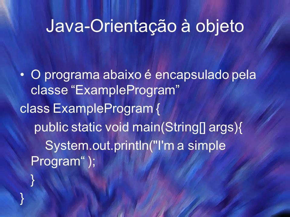 """Java-Orientação à objeto O programa abaixo é encapsulado pela classe """"ExampleProgram"""" class ExampleProgram { public static void main(String[] args){ S"""