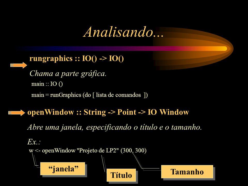 Analisando... rungraphics :: IO() -> IO() Chama a parte gráfica.