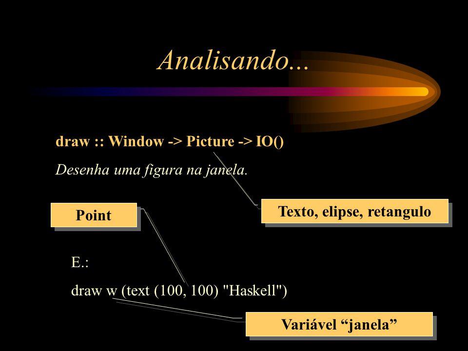 Analisando... draw :: Window -> Picture -> IO() Desenha uma figura na janela.