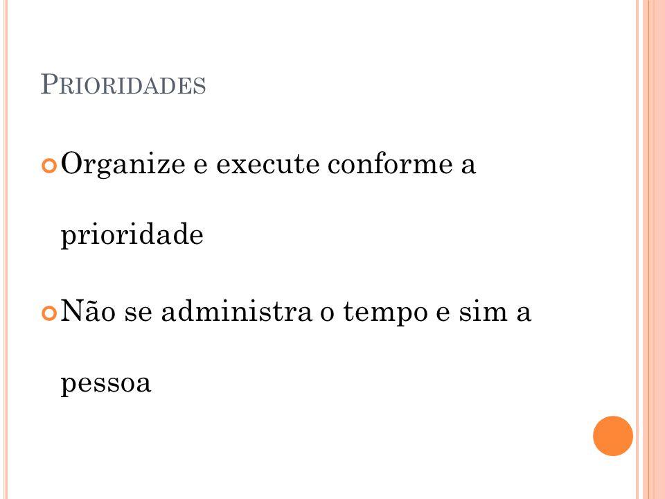 P RIORIDADES Organize e execute conforme a prioridade Não se administra o tempo e sim a pessoa