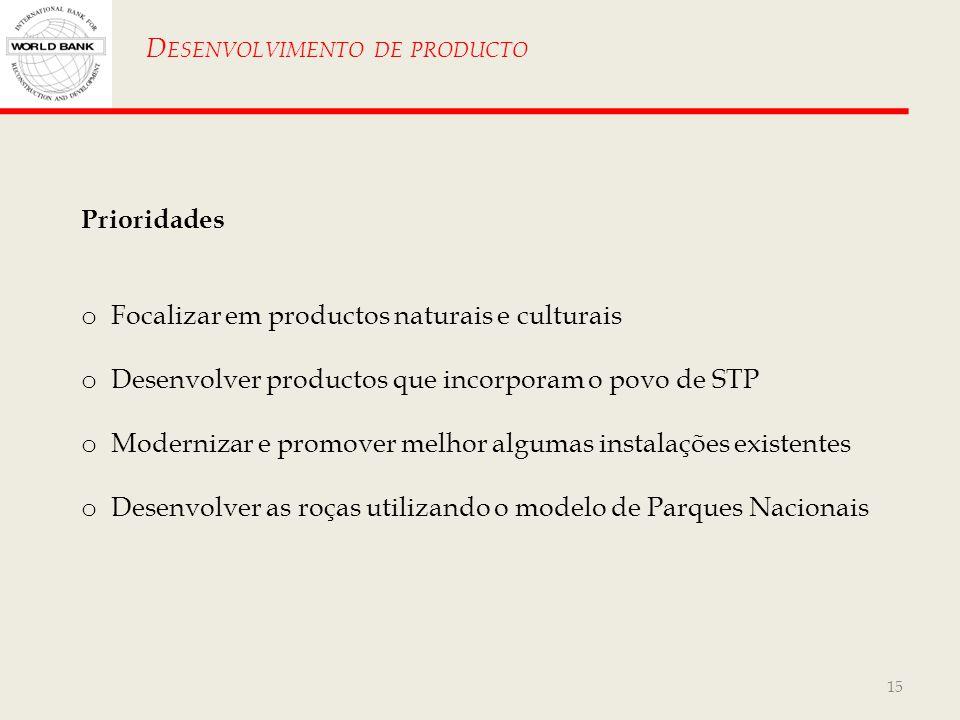 15 D ESENVOLVIMENTO DE PRODUCTO Prioridades o Focalizar em productos naturais e culturais o Desenvolver productos que incorporam o povo de STP o Moder