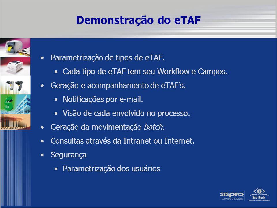 Demonstração do eTAF Parametrização de tipos de eTAF. Cada tipo de eTAF tem seu Workflow e Campos. Geração e acompanhamento de eTAF's. Notificações po