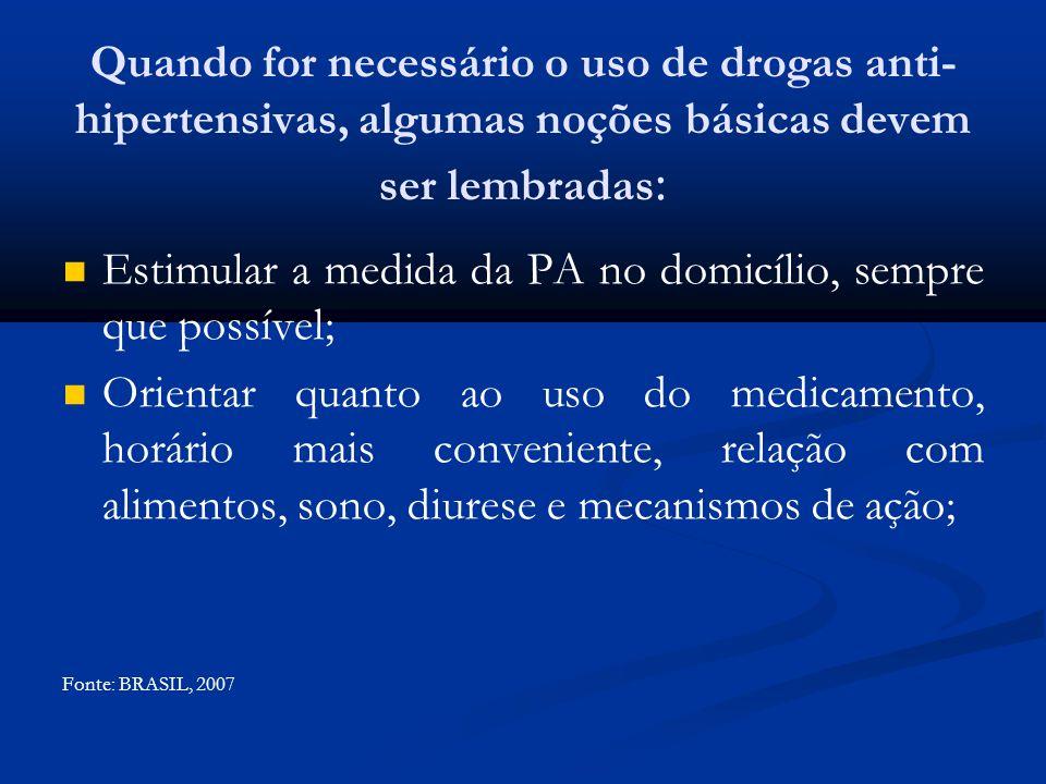 Quando for necessário o uso de drogas anti- hipertensivas, algumas noções básicas devem ser lembradas : Estimular a medida da PA no domicílio, sempre