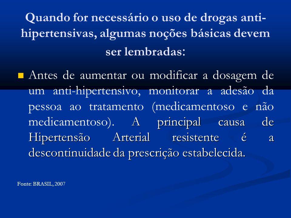Quando for necessário o uso de drogas anti- hipertensivas, algumas noções básicas devem ser lembradas : A principal causa de Hipertensão Arterial resi