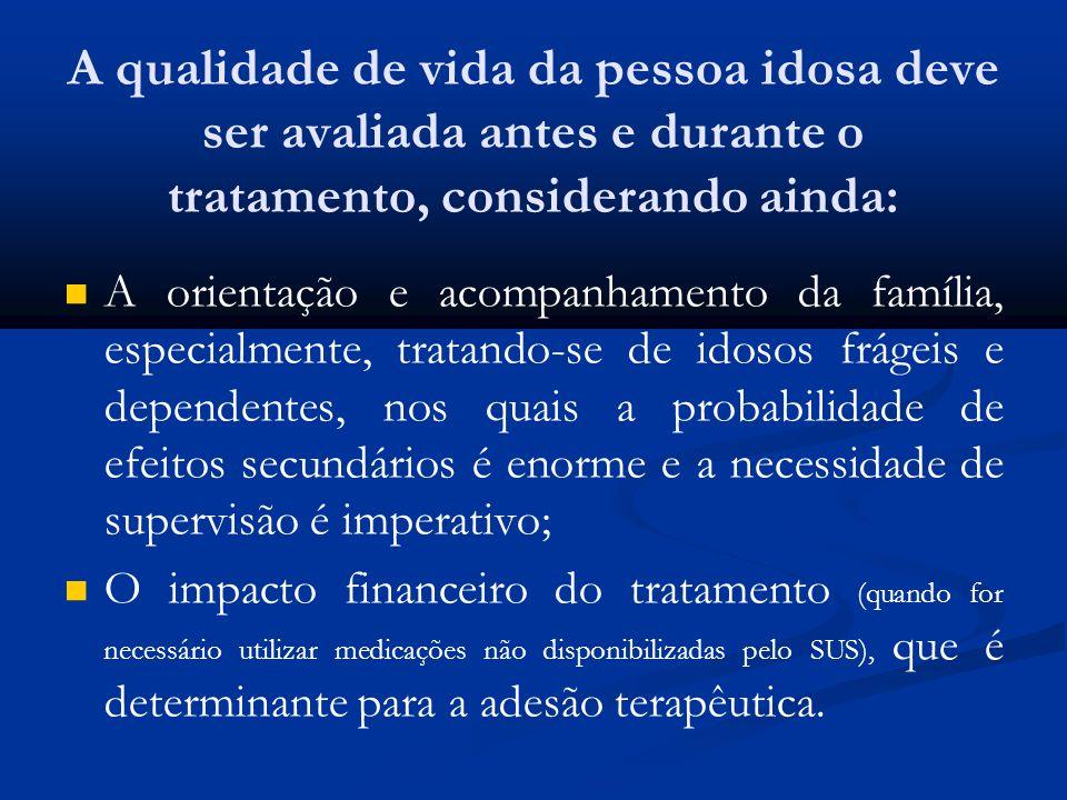 A qualidade de vida da pessoa idosa deve ser avaliada antes e durante o tratamento, considerando ainda: A orientação e acompanhamento da família, espe