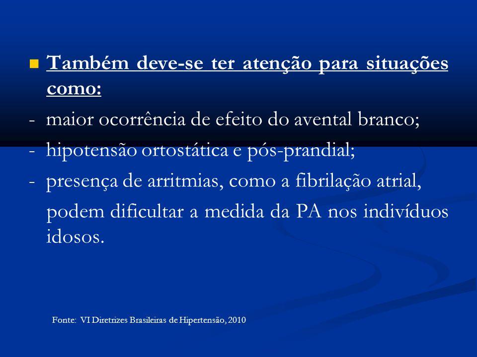 Também deve-se ter atenção para situações como: - maior ocorrência de efeito do avental branco; - hipotensão ortostática e pós-prandial; - presença de