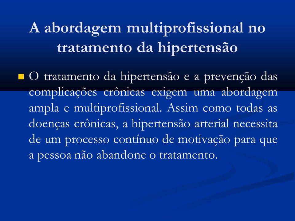 A abordagem multiprofissional no tratamento da hipertensão O tratamento da hipertensão e a prevenção das complicações crônicas exigem uma abordagem am
