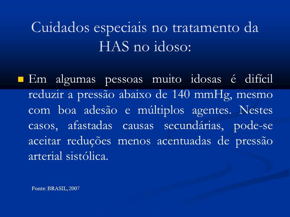 Cuidados especiais no tratamento da HAS no idoso: Em algumas pessoas muito idosas é difícil reduzir a pressão abaixo de 140 mmHg, mesmo com boa adesão