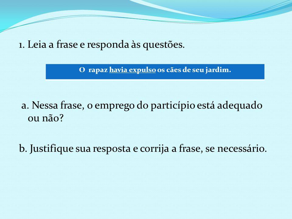 1. Leia a frase e responda às questões. a. Nessa frase, o emprego do particípio está adequado ou não? b. Justifique sua resposta e corrija a frase, se