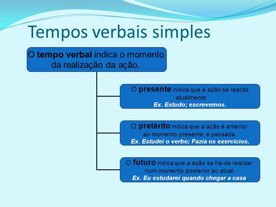 Tempos verbais simples O tempo verbal indica o momento da realização da ação. O presente indica que a ação se realiza atualmente Ex. Estudo; escrevemo