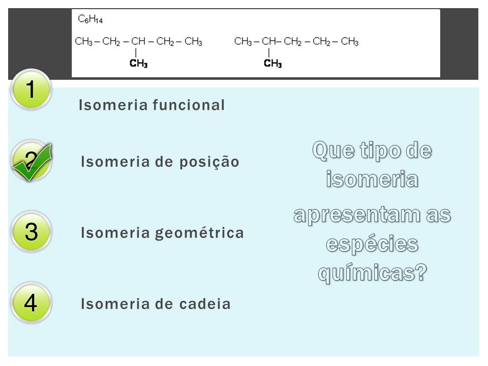 Isomeria funcional Isomeria de posição Isomeria geométrica Isomeria de cadeia