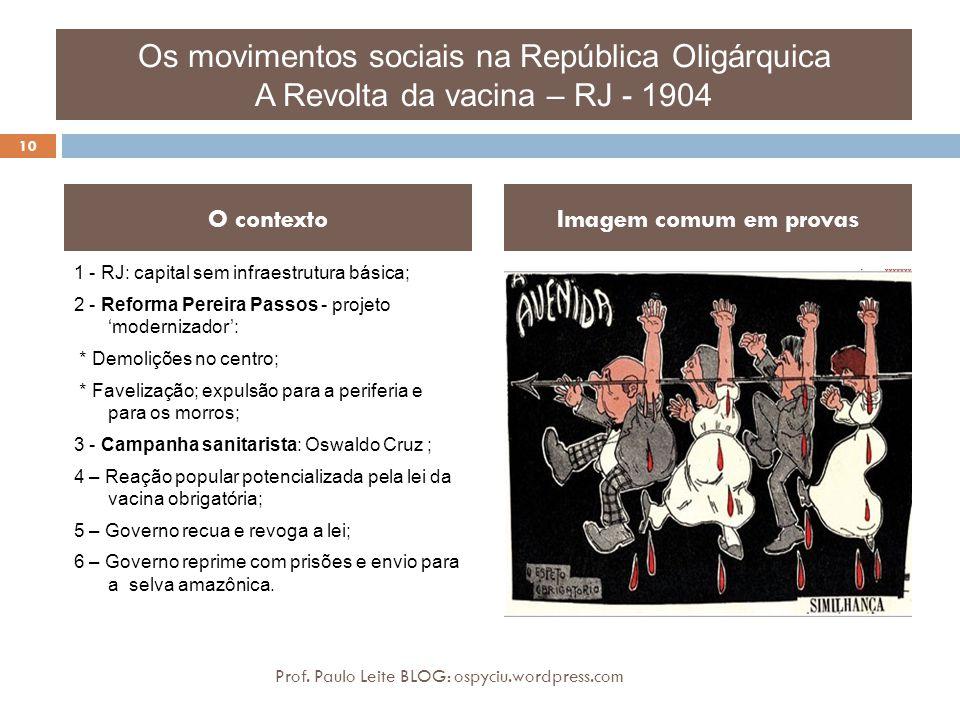Os movimentos sociais na República Oligárquica A Revolta da vacina – RJ - 1904 1 - RJ: capital sem infraestrutura básica; 2 - Reforma Pereira Passos -