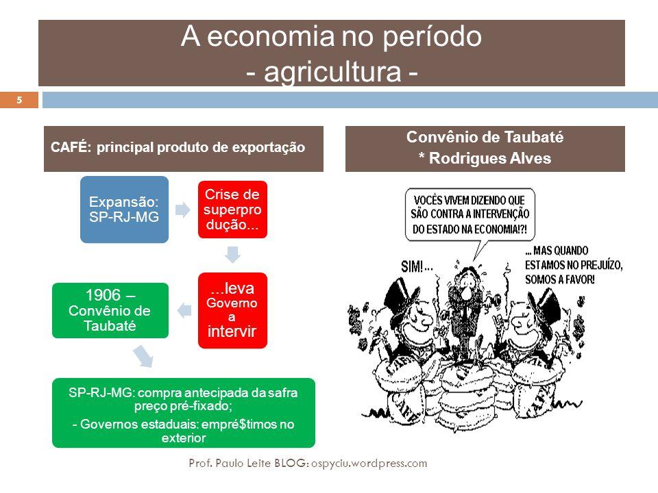 A economia no período - agricultura - Expansão: SP-RJ-MG Crise de superpro dução......leva Governo a intervir 1906 – Convênio de Taubaté - SP-RJ-MG: c