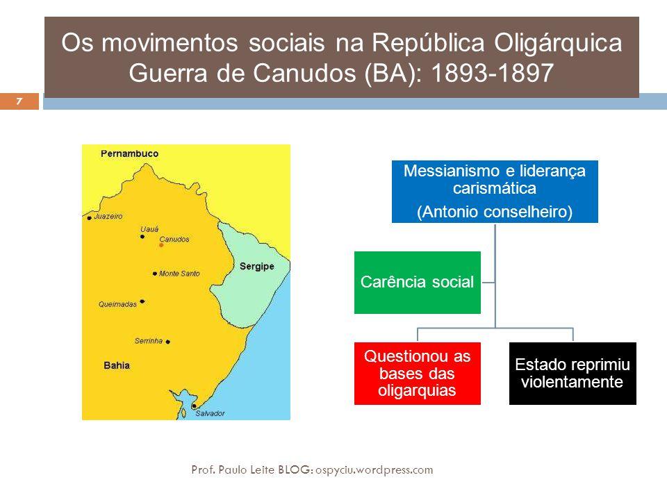 Os movimentos sociais na República Oligárquica Guerra de Canudos (BA): 1893-1897 7 Prof. Paulo Leite BLOG: ospyciu.wordpress.com Messianismo e lideran