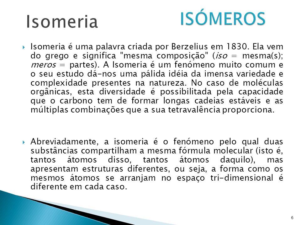  Isomeria é uma palavra criada por Berzelius em 1830. Ela vem do grego e significa