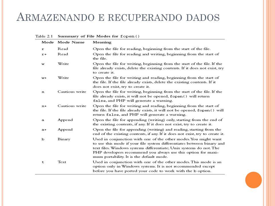 A RMAZENANDO E RECUPERANDO DADOS