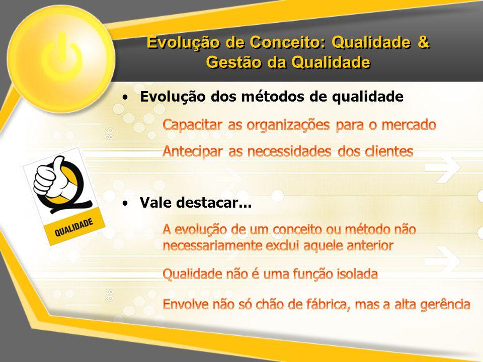 Evolução de Conceito: Qualidade & Gestão da Qualidade Evolução dos métodos de qualidade Vale destacar...