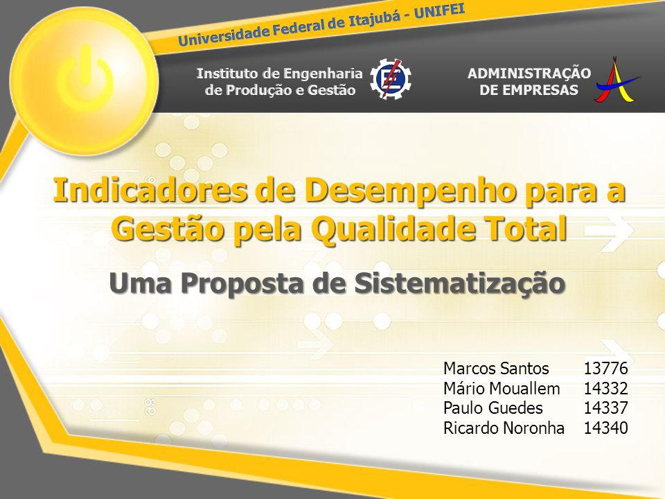 Indicadores de Desempenho para a Gestão pela Qualidade Total Uma Proposta de Sistematização Marcos Santos Mário Mouallem Paulo Guedes Ricardo Noronha