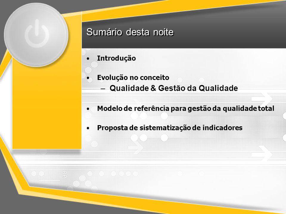 Sumário desta noite Introdução Evolução no conceito –Qualidade & Gestão da Qualidade Modelo de referência para gestão da qualidade total Proposta de s