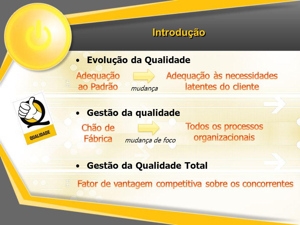 Introdução Evolução da Qualidade Gestão da qualidade Gestão da Qualidade Total mudança mudança de foco