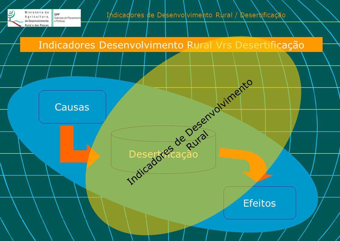 Indicadores de Desenvolvimento Rural / Desertificação Causas Efeitos Indicadores Desenvolvimento Rural Vrs Desertificação Desertificação Indicadores d
