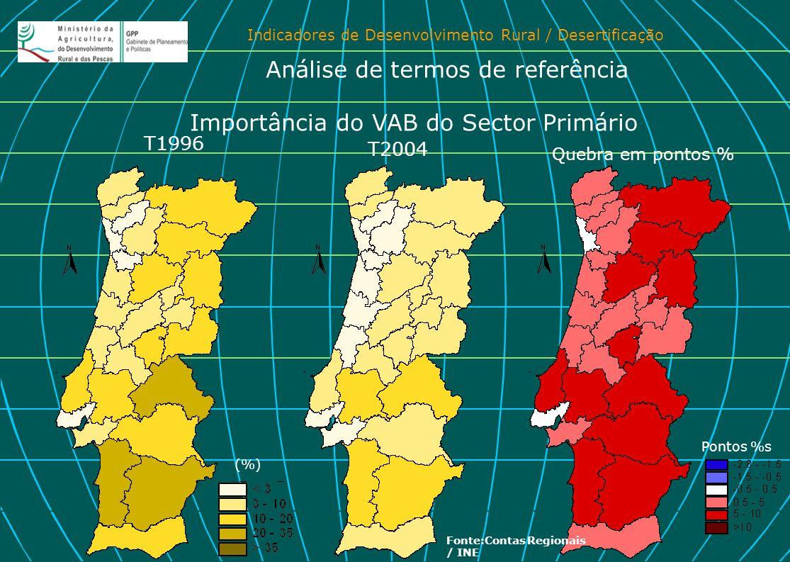 Indicadores de Desenvolvimento Rural / Desertificação Importância do VAB do Sector Primário T2004 T1996 Quebra em pontos % Pontos %s Análise de termos