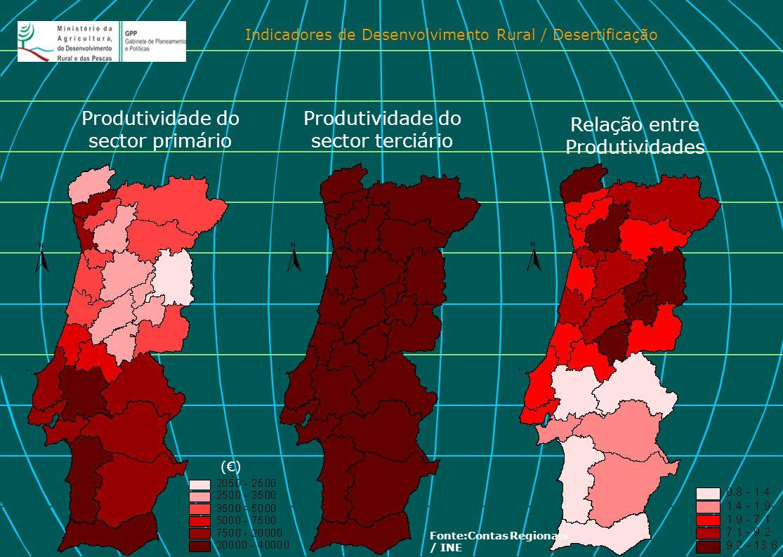 Indicadores de Desenvolvimento Rural / Desertificação Produtividade do sector primário Produtividade do sector terciário Relação entre Produtividades