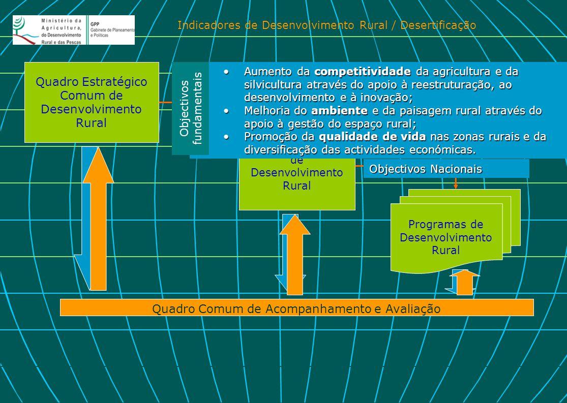 Indicadores de Desenvolvimento Rural / Desertificação Quadro Estratégico Comum de Desenvolvimento Rural Estratégia Nacional de Desenvolvimento Rural P