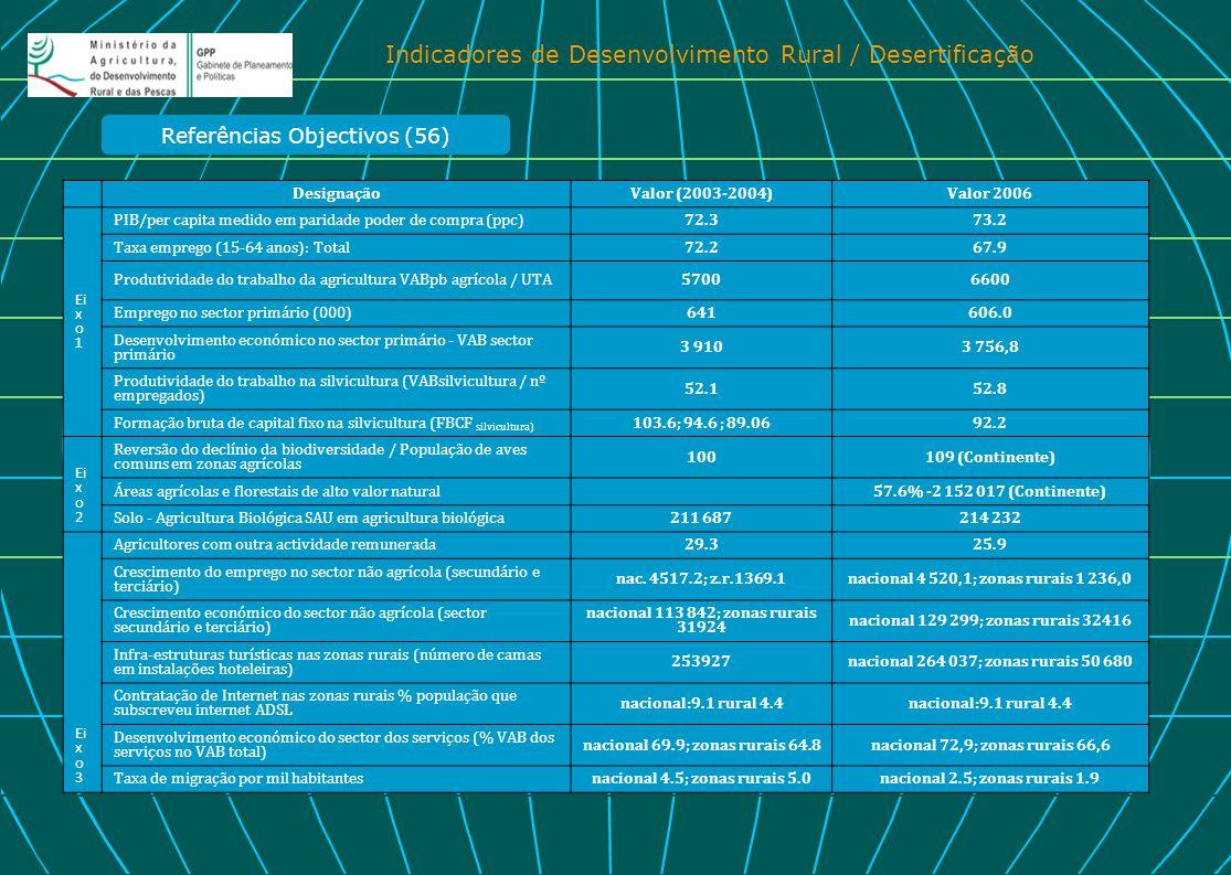 Indicadores de Desenvolvimento Rural / Desertificação DesignaçãoValor (2003-2004)Valor 2006 Ei x o 1 PIB/per capita medido em paridade poder de compra