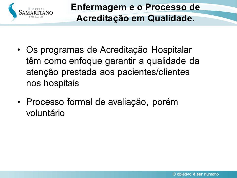 O objetivo é ser humano Enfermagem e o Processo de Acreditação em Qualidade. Os programas de Acreditação Hospitalar têm como enfoque garantir a qualid