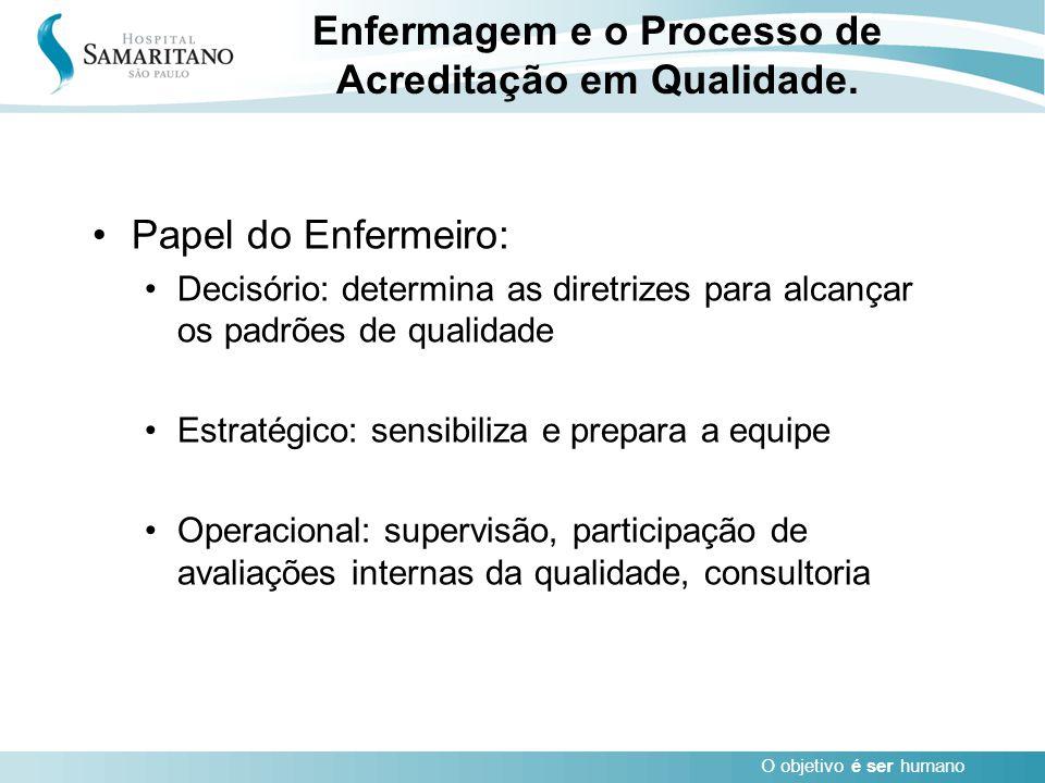 O objetivo é ser humano Papel do Enfermeiro: Decisório: determina as diretrizes para alcançar os padrões de qualidade Estratégico: sensibiliza e prepa