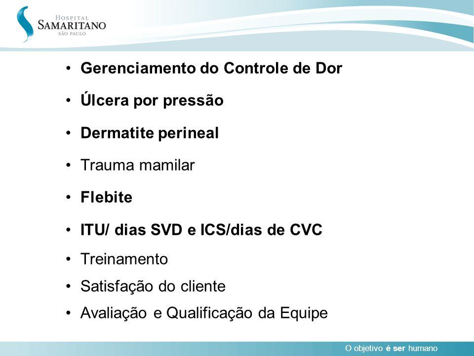 O objetivo é ser humano Gerenciamento do Controle de Dor Úlcera por pressão Dermatite perineal Trauma mamilar Flebite ITU/ dias SVD e ICS/dias de CVC