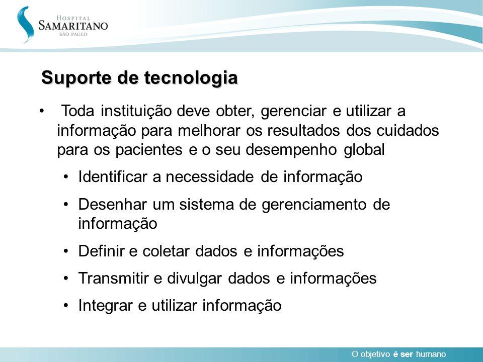 O objetivo é ser humano Suporte de tecnologia Toda instituição deve obter, gerenciar e utilizar a informação para melhorar os resultados dos cuidados