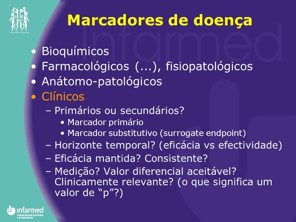 Bioquímicos Farmacológicos (...), fisiopatológicos Anátomo-patológicos Clínicos –Primários ou secundários? Marcador primário Marcador substitutivo (su