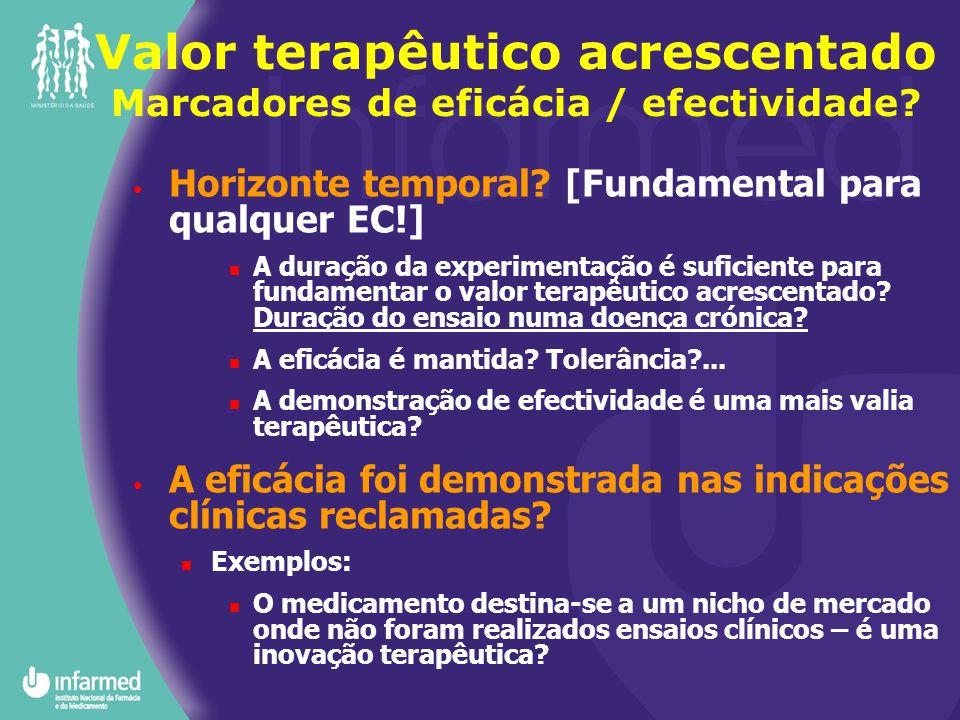 Valor terapêutico acrescentado Marcadores de eficácia / efectividade? Horizonte temporal? [Fundamental para qualquer EC!] A duração da experimentação